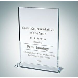 Vertical Rectangle Clear Glass Award Plaque (Medium)
