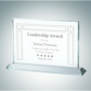 "Horizontal Rectangle Clear Glass Award Plaque (6 1/2"")"